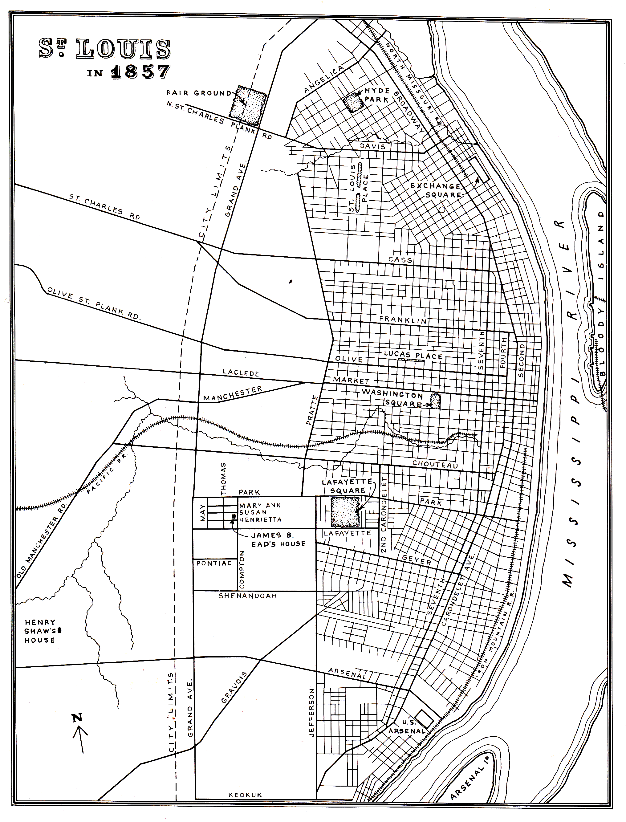 Compton Heights History 2nd Judicial Circuit Historical Society Maps In 1855 The City Limits
